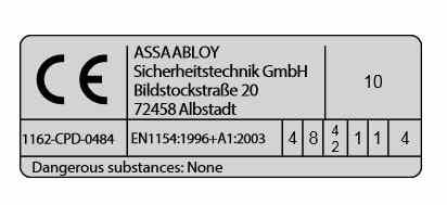 Klasyfikacja zamykacza drzwi Assa Abloy DC 140